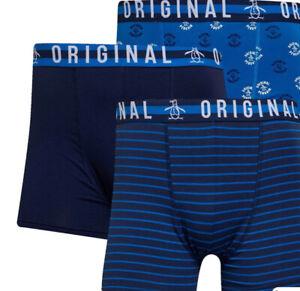 Original Penguin Mens 3 Pack AOP Stripe Boxer Shorts Navy Sizes L XL  new