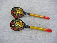 Vintage russian painted spoons lot of 2