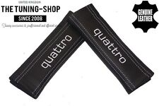 """2x Seat Belt Covers Pads Black Leather """"quattro"""" White Embroidery for Audi"""