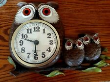 Vintage 1970's Burwood Products Owl Family Wall Clock-Excellent
