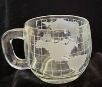 Vintage 1970's Nestle Nescafe Clear Glass Globe World Cup Mug Coffee Tea