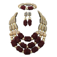 Brown Gold 3 layers African Nigerian Beads Bridal Wedding Party Jewellery Set