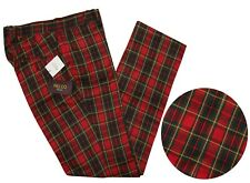 Relco Men's Sta Press Red Tartan Checked Golfing Stay Pressed Trousers