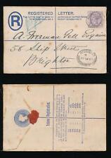Gb 1893 Brighton Station Office Registered Oval Uprated Stationery Ship Street