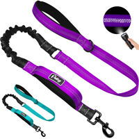 No Pull Dog Bungee Leash Dual Handle Reflective Elastic Walking Lead Nylon Rope
