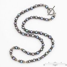 Modern Designer Sterling Silver Cultured Pearl Byzantine Bolly Toggle Necklace!