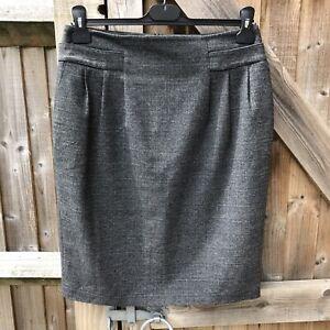 Reiss Smart Grey Pencil Skirt Size 12 (Torn Lining)
