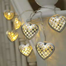 10 Metal Hearts Battery Powered String Lights