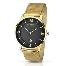 Sekonda Men's Quartz Watch With Black Dial Analogue Display and Gold Stainless S