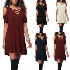 Summer Women Strapless V Neck T Shirt Solid Short Sleeve Casual Loose Slip Dress