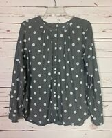 LOFT Women's S Small Gray White Polka Dot Button Long Sleeve Blouse Top Shirt