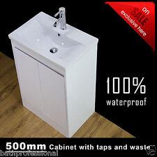Floor Standing Bathroom Vanity Unit Basin Sink Storage Cabinet Gloss White 500mm