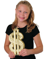 """Giant 10"""" Gold Plastic Rapper Dollar Sign Bling Necklace Costume Accessory"""