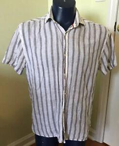 Scott James 100% Linen Short sleeve striped button down MEDIUM Gray White M