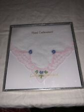 Ladies Handkerchief Hand Embroidered Box Sealed New In Box