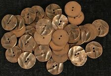 """Antique Brass Buttons 2-holes ~ 1"""" ~ 25mm ~ flat backed ~ old stock ~ per button"""