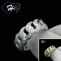 MEN WOMEN 925 STERLING SILVER LAB DIAMOND ICED SILVER/GOLD CURB LINK RING*SR109