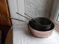 French 3 copper pots saucepans brass handle copper rivets marked