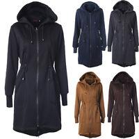 Übergangs Parka Damen Lange Kapuze Mantel Jacke Hoodie Wintermantel Outwear D