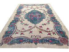 "8'6""x6'2""  Vintage aqua  blue cream red oushak vintage rug carpet retro art deco"