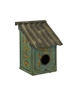 Rustic Blue Metal License Plate Birdhouse Decorative Vintage Hanging Bird Nest
