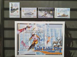 Guinea Olympic Winter Games Salt Lake City skiing MNH stamps & S/S biathlon luge
