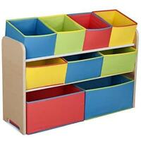 Wooden Kid Children Toy Storage Rack shelf with 9 Boxes tidy Organizer Playroom