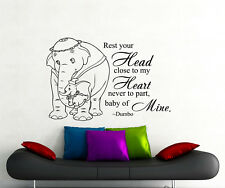 Dumbo Quote Wall Decal Rest Your Head Disney Vinyl Sticker Nursery Decor 154ct