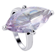 Sterling Silver Lavender Color Marquise Cubic Zirconia Solitaire Ring Size 5 - 7