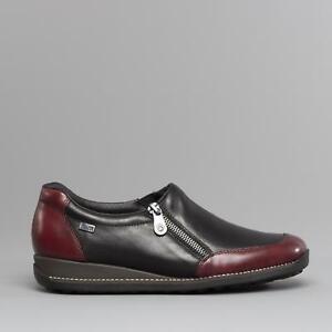 Rieker 44294-35 Ladies Womens Leather Casual Low Wedge Zip Shoes Black/Burgundy