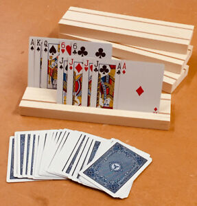 SET OF 4 HAND MADE WOODEN PLAYING CARD HOLDERS MADE FROM SELECT PINE