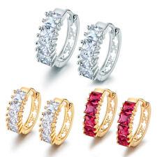 Luxury Silver White & Yellow Gold Filled Laurel Diamond Ruby Women Hoop Earrings