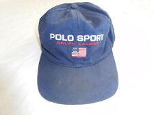 Vintage Polo Sport Ralph Lauren Baseball Cap Hat Strapback Flag Spellout USA