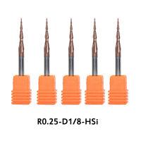 5pcs Radius0.5mm Tapered Ball Nose End Mill1//8 Shank CNC Engraving Carving Bit