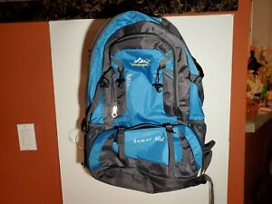 "Tanxianzhe Huwai 60 Liter Hiking Travel Backpack Blue Gray 24"" Tall 18"" Wide"