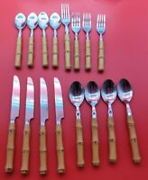 16 Pieces Cambridge Flatware Faux Bamboo Handle Stainless Flatware Tiki