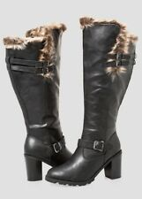 Ashley Stewart  Chunky  Fur Lined Tall Boot Wide Calf Wide Width Size 11