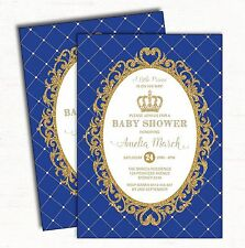 Royal Blue Gold Baby Shower Invitation Little Prince Crown Invite Party Supplies