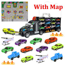 Transport Carrier Truck Set - 16 in 1 Multi Colour Car Transporter Toy For Kids