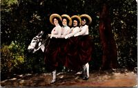 VINTAGE - 4 Women on a Donkey Postcard 1900 4 Queens on a Jack - CASINO - CARDS