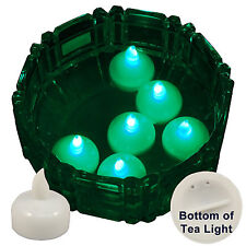 New 6 Green Led Floating Floral Tea Light Candle for Wedding Centerpiece Decor