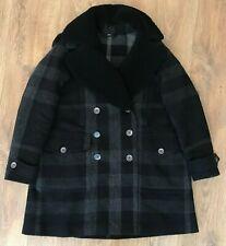Burberry Brit ladies womens black big nova check wool double breaste coat size 4