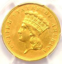 1859 Three Dollar Indian Gold Coin $3 - Certified PCGS AU Details - Rare Date!
