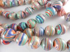 Pastel Rainbow Calsilica 12mm Round Bead Strand Semi-Precious 1 str