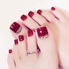 24 X Red Rhinestone Art Tips Full Cover False Toe Fake Nails Manicure Tools Hot