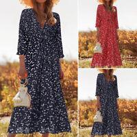 ZANZEA Women Bohemian Long Shirt Dress Summer Holiday Floral Midi Dress Plus