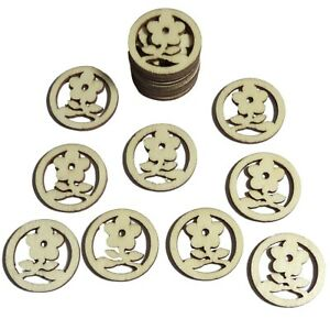 50pcs Rustic Round Wooden Flowers Confetti Embellishments for Craft