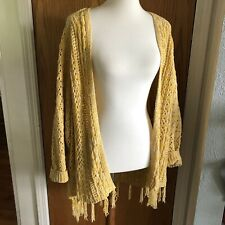 HUMMINGBIRD Anthropologie Yellow Knit Long Oversize Cardigan Boho Fringe Sz S/M