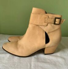 Free People Belleville Tan Beige Leather Ankle Boots Booties Sz 41 /US 10 Buckle