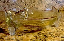 Unique Vintage Crystal Eagle Bowl 24k Trim